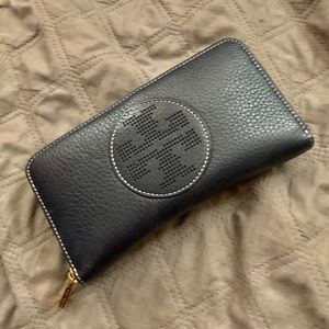 Tory Burch Perforated Logo Zip Wallet